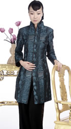 Embossed Embroidery Mandarin Coat (Green)