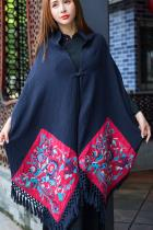 Extra Long Ethnic Embroidery Shawl/Cloak