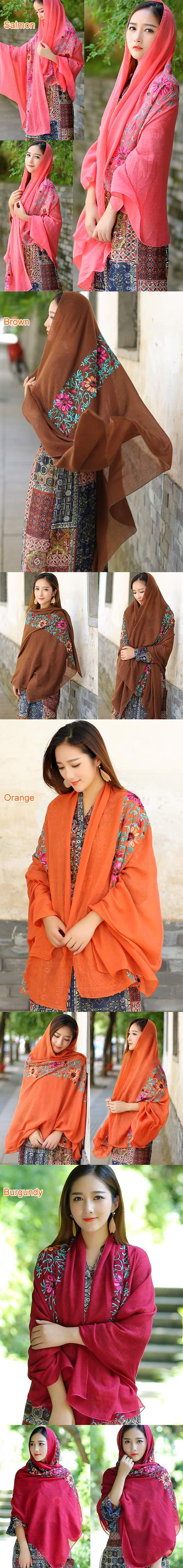 Large Ethnic Linen Flower Embroidery Shawl (Multicolor)