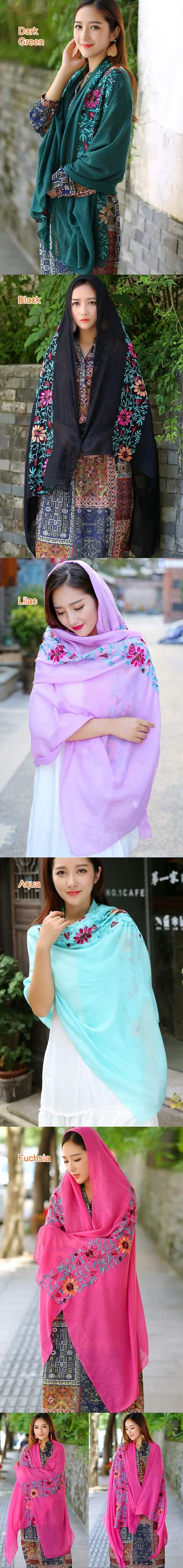 民風情精美亞麻刺繡圍巾 (多色)