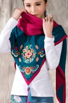 Versatile Ethnic Embroidery Cotton Linen Shawl - Aqua Blue/Fuchsia