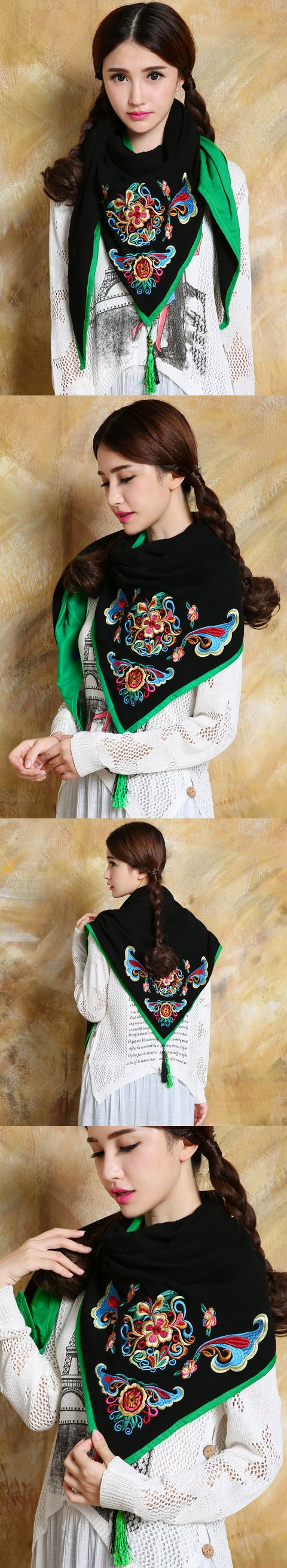 Versatile Ethnic Embroidery Cotton Linen Shawl - Black/Green
