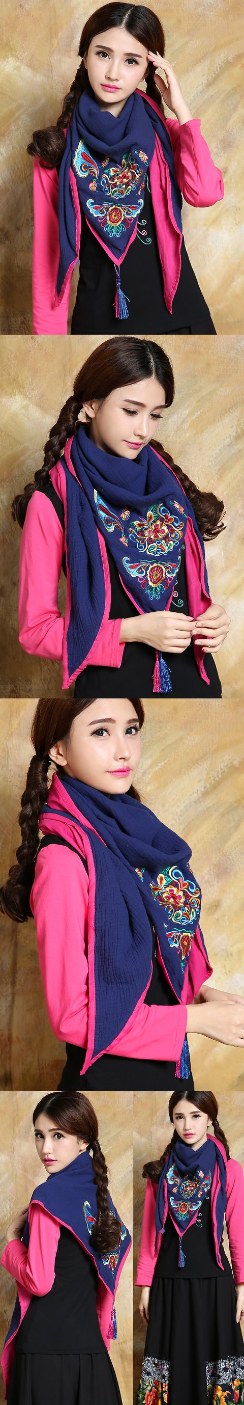 Versatile Ethnic Embroidery Cotton Linen Shawl - Blue/Fuchsia