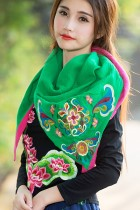 Versatile Ethnic Embroidery Cotton Linen Shawl - Green/Red