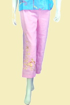 Floral Embroidery Pants (Pink)