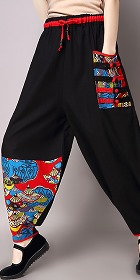 Mandarin Pants with Patch and Frogs (RM)
