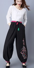 Mandarin Pants with Flower Embroideries (RM)