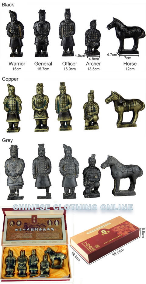 5-piece (16cm) Miniature Terracotta Army