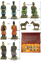 Colored 5-piece (12cm) Miniature Terracotta Army