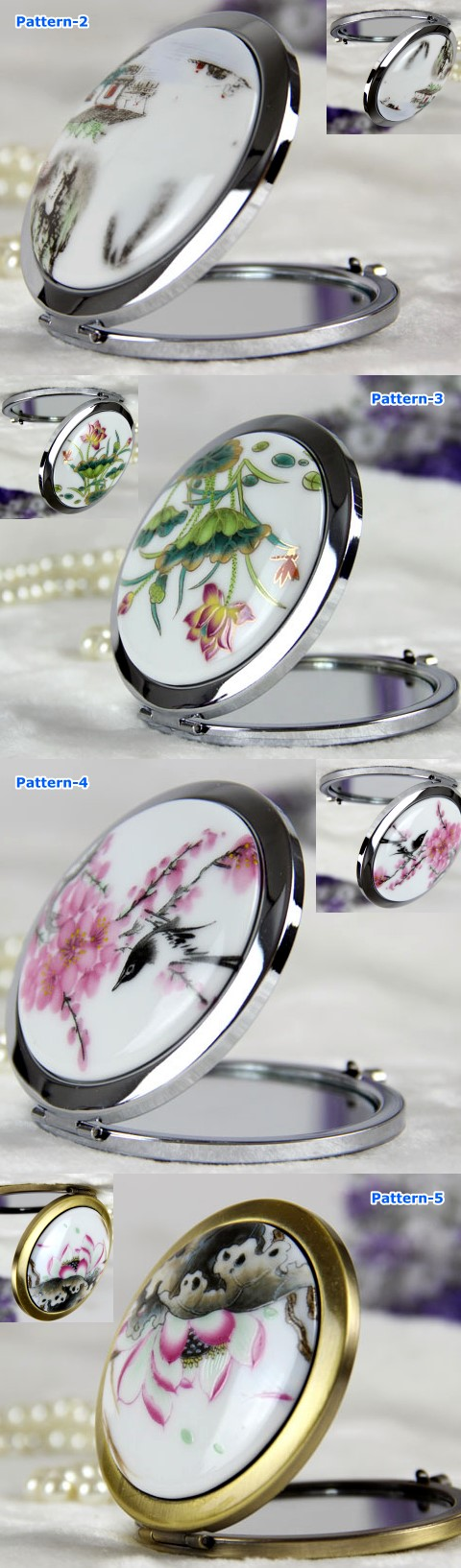 Hand Painting Compact Mirror (Multi-pattern)