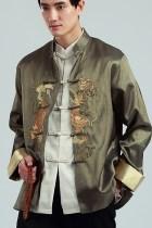 唐裝繡雙龍戲珠泰絲夾克(成衣)