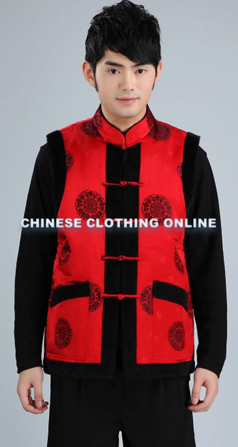 Mandarin Brocade Fabric Mink Hair Vest (RM)