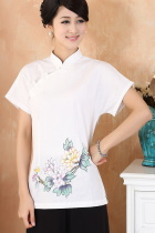 Hand-Painting Chrysanthemum Short-sleeve Chinese Ethnic Blouse (Ready-Made)