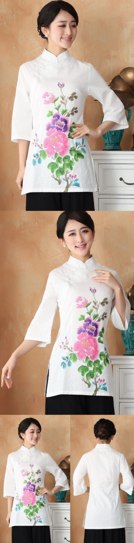 Hand-Painting Mudan Peony 3/4-sleeve Chinese Ethnic Long Blouse (Ready-Made)