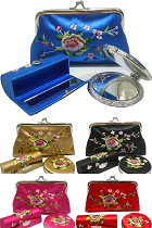 Set of Purse/mini-bag, Lipstick-case & Compact-mirror