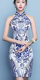Cut-in-shoulder Magnificent Short-length Cheongsam (CM)