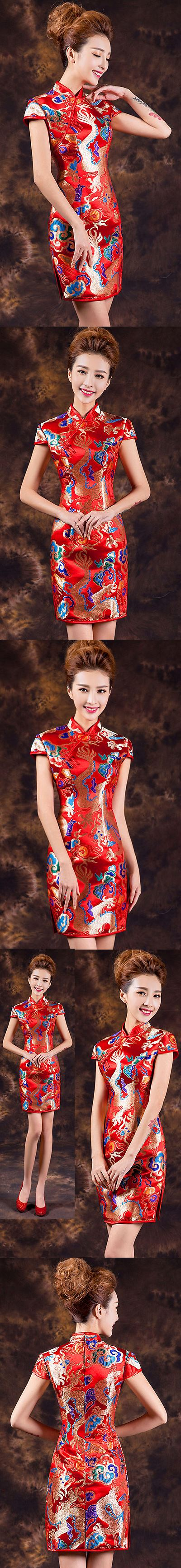 Cup-sleeve Magnificent Short-length Cheongsam (CM)