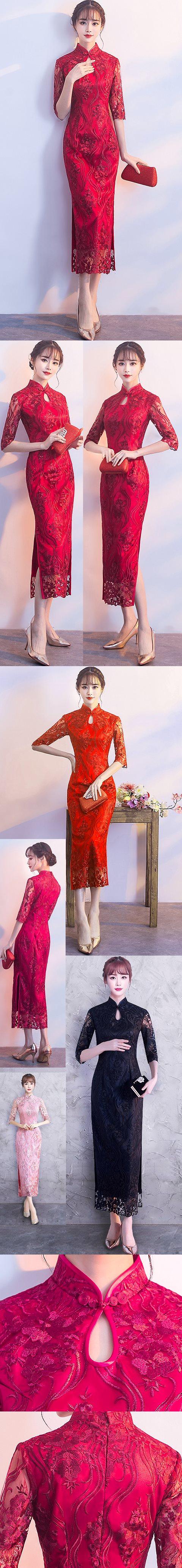 Long-length Gorgeous Embroidery Gauze Cheongsam-Multi-color (CM/RM)