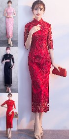 Long-length Gorgeous Embroidery Gauze Cheongsam-Multi-color (CM/RM)