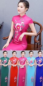 Long-length Silky Embroidery Cheongsam (CM/RM)