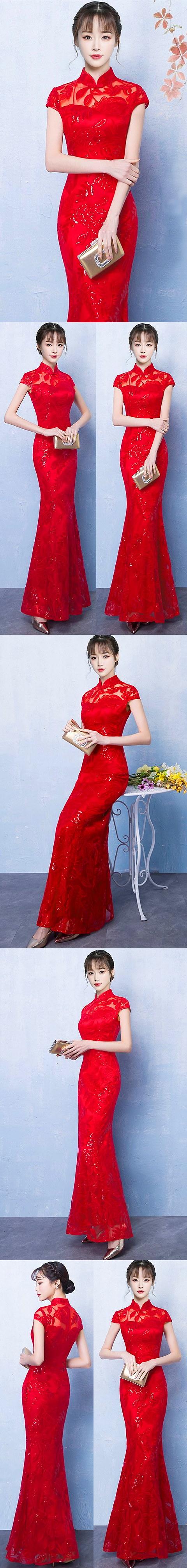 Paillettes Long-length Prom Cheongsam (RM/CM)