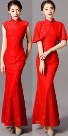 Long-length Fishtail Embroidery Gauze Cheongsam (Red)
