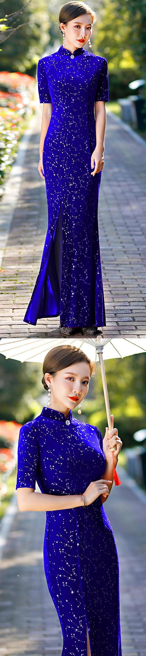 長身魚尾金絲絨旗袍(藍色)
