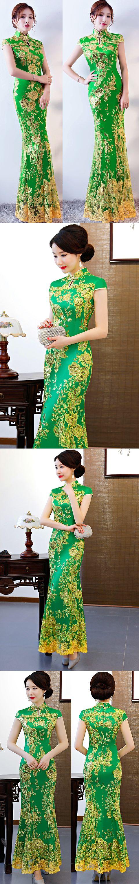 Cup-sleeve Long-length Prom Cheongsam - Green (RM/CM)
