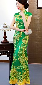 Cup-sleeve Long-length Prom Cheongsam - Green (RM/CM)