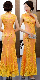 Cup-sleeve Long-length Prom Cheongsam - Orange (RM/CM)