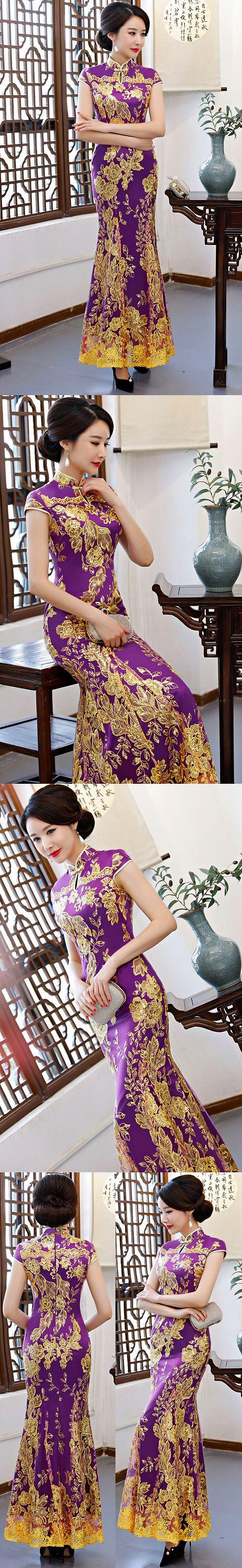 碗袖長身晚會旗袍 - 紫色 (成衣/定做)