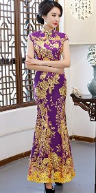 Cup-sleeve Long-length Prom Cheongsam - Purple (RM/CM)