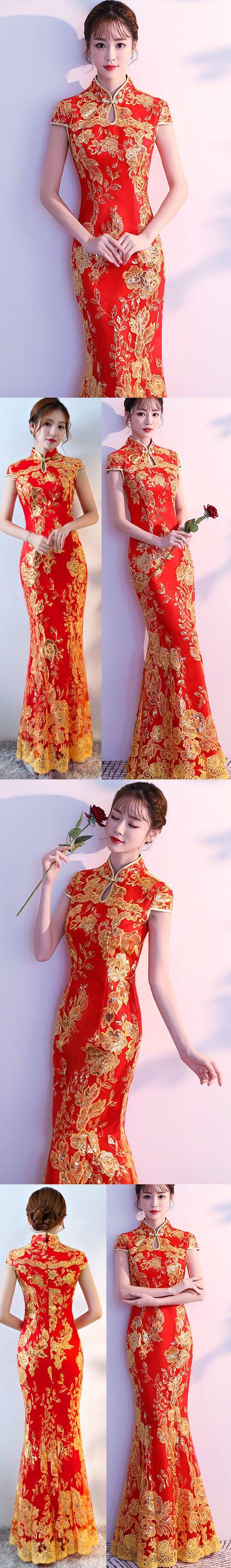 Cup-sleeve Long-length Prom Cheongsam - Red (RM/CM)
