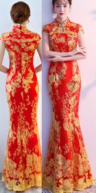 Cup-sleeve Long-length Prom Cheongsam - Red (RM/CM)