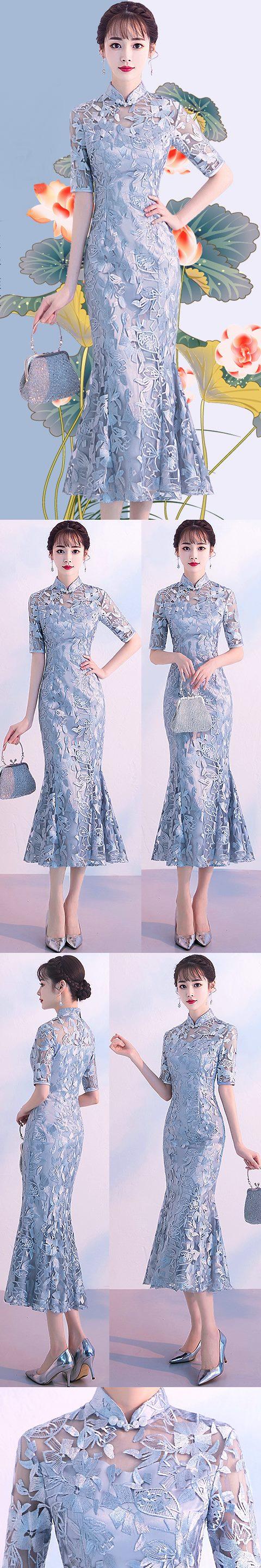 Fishtail Gorgeous Embroidery Gauze Cheongsam (RM)