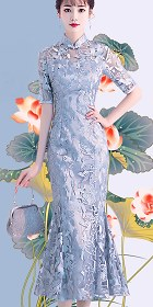 Fishtail Gorgeous Embroidery Gauze Cheongsam (RM)
