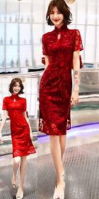 Magnificent Embroidery Gauze Short-sleeve Cheongsam (RM)