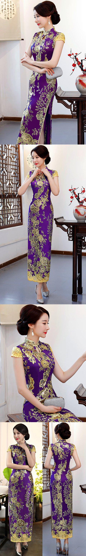 Cup-sleeve Long-length Prom Cheongsam - Purple (RM/CM)