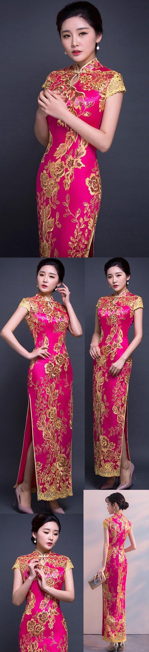 Cup-sleeve Long-length Prom Cheongsam - Fuchsia (RM/CM)