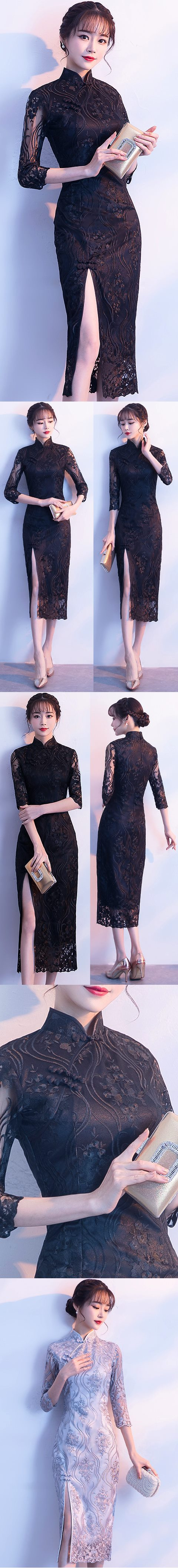 Long-length Gorgeous Embroidery Gauze Cheongsam (RM)