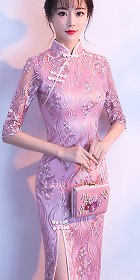 Long-length Gorgeous Embroidery Gauze Cheongsam-Dusty Pink (RM)