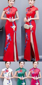 Long-length Silky Embroidery Cheongsam (CM/RM)