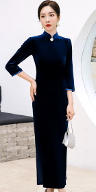 3/4-sleeve Long-length Velvet Cheongsam (Navy Blue)