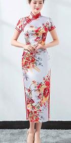 短袖長身緞旗袍 (成衣)