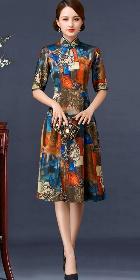 肘袖中長身緞旗袍 (成衣)