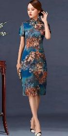 短袖中長身緞旗袍 (成衣)