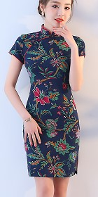 Short-length Linen Printing Cheongsam Dress (RM)