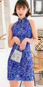 Cut-in-shoulder Short Brocade Cheongsam Dress (RM)