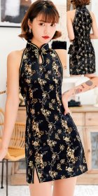 Cut-in-shoulder Short Brocade Cheongsam Dress (RM)