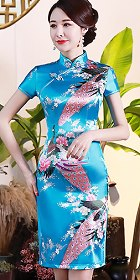 Short-sleeve Mid-length Silky Cheongsam (RM)